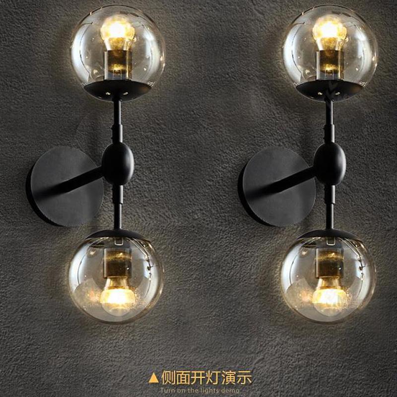 Art studio 2-head Miroir boule de verre mur lampe abajur E27 led moderne mur lumière café Professionnel éclairage feux à manger