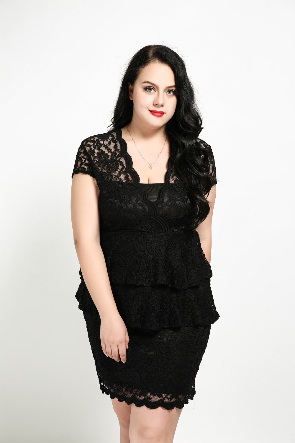 Womens Sexy V Neck Plus Size Lace Dress Short Sleeve -6311