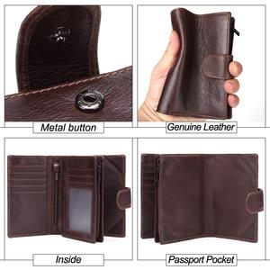 Image 5 - MISFITS cartera Vintage de cuero genuino para pasaporte con cremallera para hombre, monedero