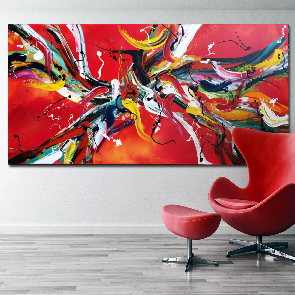 SELFLESSLY red line Abstract Art Pop Art HD Print Abstract Oil Painting on Canvas Modern Wall Art Picture free shipping