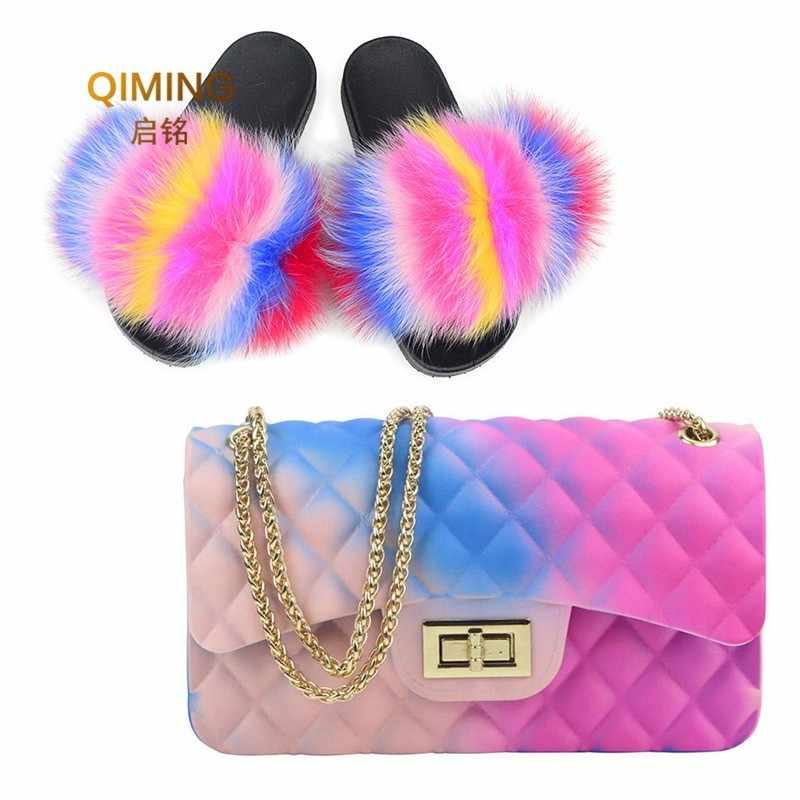 Woman Fur Slides -Flap Rainbow Handbag Colorful Jelly Shoulder Bag Shoes Women Fluffy Fur Slippers Purse Pvc Candy Crossbody Bag