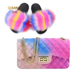 Woman Fur Slides -Flap Rainbow Handbag Colorful Jelly Shoulder Bag Shoes Women Fluffy Fur Slippers Purse Pvc Candy Crossbody Bag