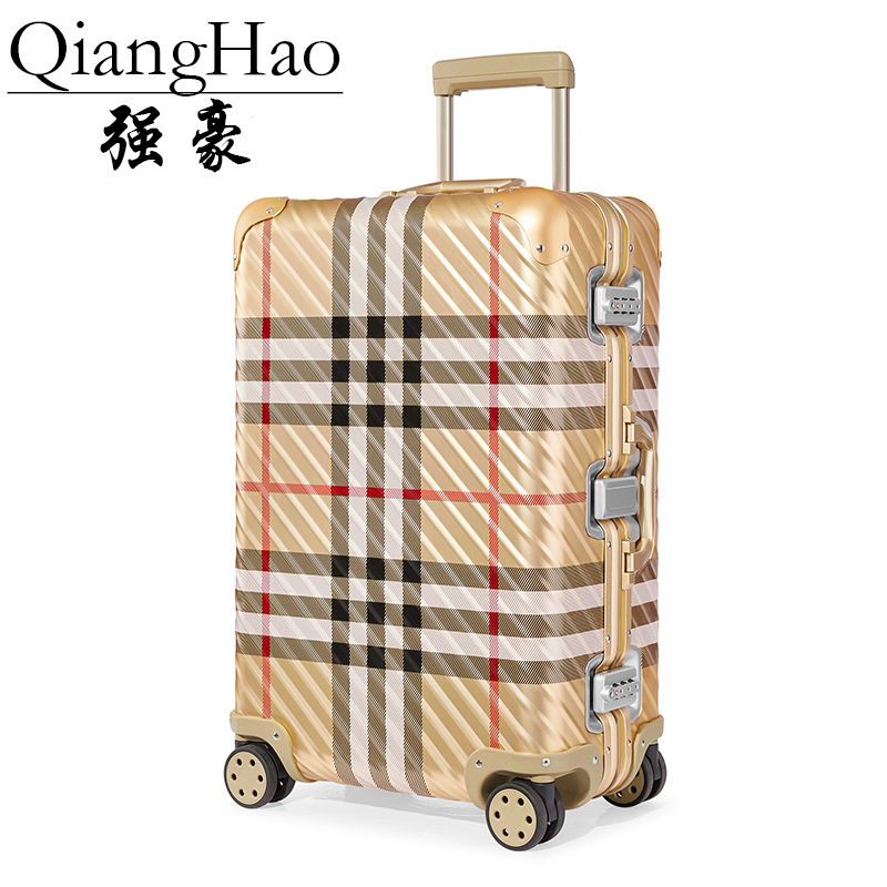 QiangHao brand 100 Aluminum alloy material spinner travel suitcase laptop trolley hand luggage for travelling