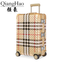 QiangHao brand 100% Aluminum alloy material spinner travel suitcase laptop trolley hand luggage for travelling(China)