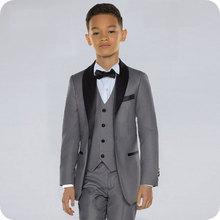 Custom Made Grey Boy Wedding Suits Black Shawl Lapel Slim Fit Kids Blazer Costume Marriage Child 3Piece Jacket Pants