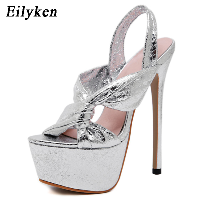 de61474db29 US $20.47 37% OFF|Eilyken 17cm Ultra High Heel Shoes Sexy Silver Stripper  Shoes Party Pumps Summer Platform High Heel Sandals Ladies Shoes-in High ...