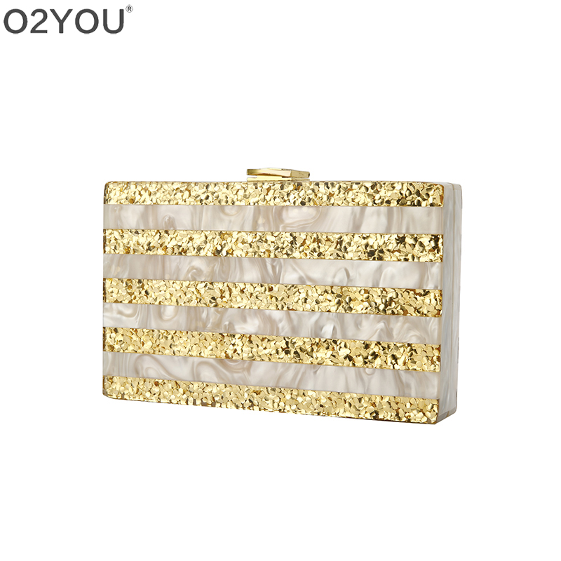 Nude Champagne Striped Gold Glitter Acrylic Clutch Purse Bags Women Lady Beach Travel Summer Shoulder Messenger Acrylic Bags