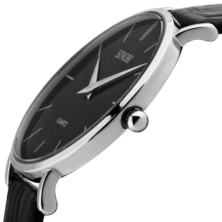 Super slim Quartz Casual Wristwatch Business JAPAN SINOBI Brand Leather Analog Quartz Watch Men's Fashion relojes hombre