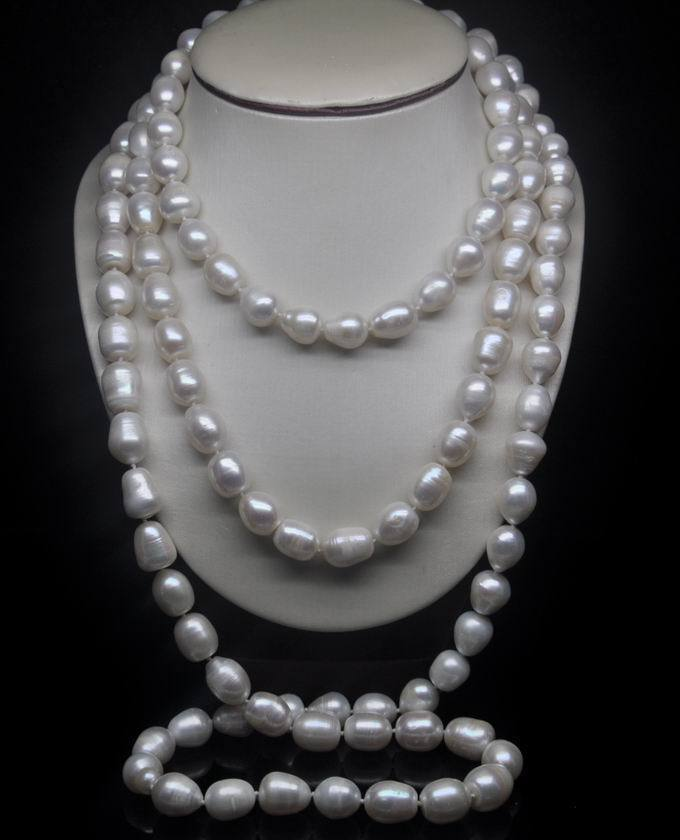 """10-12MM AAA NATURAL Akoya WHITE SOUTH SEA BAROQUE PEARL NECKLACE 68""""INCH"""