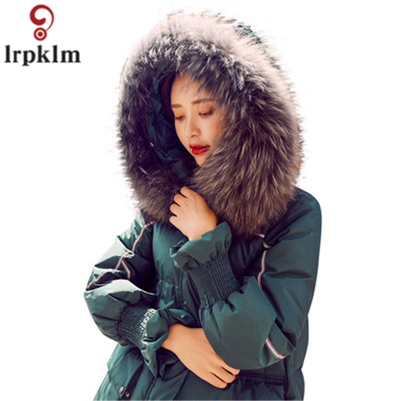 2017 New Winter women down jackets Elegant Big collar Europe Style Slim Medium Long Winter relax Parkas Lady Coat TP007