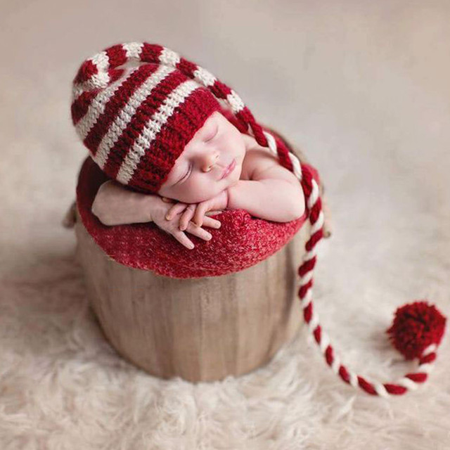 Newborn Baby Knitted Long Tails Christmas Hat Newborn Photography Props Red  White Stripe Infant Hats Baby 08b2c5db2ff