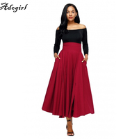 Adogirl 2017 Autumn Winter Women Skirt Vintage Retro 5 Colors High Waist Pleated Belted Long Maxi