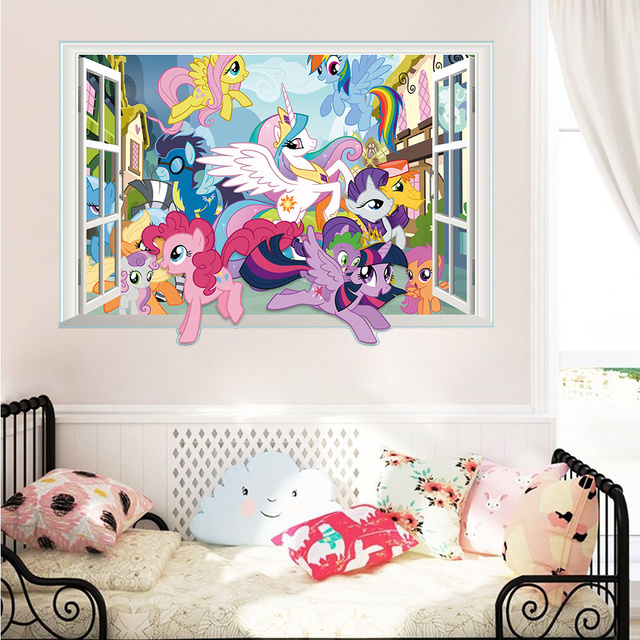 Twilight Sparkle Apple Jack Pinkie Pie Wall Decor Stickers Bedroom Decor  Carton Horse 3d Window Mural