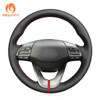 MEWANT Durable Stitching Black Artificial Leather Car Steering Wheel Cover for Hyundai Veloster 2019 i30 2017 2019 Elantra 2019