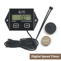 Engine Tach Tachometer Hour Meter Car Digital with Wire Inductive for Motorcycle Car Motor Stroke Engine Replaceable Battery