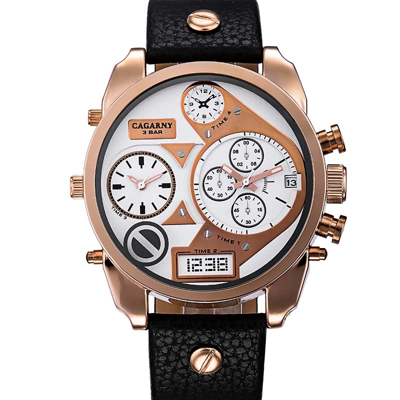 Mens Watches Top Brand Luxury Leather Strap Watch CAGARNY Men Dual Movement Watches Relogio Masculino