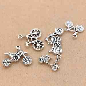 10 stücke Antike Silber Überzogene Bike Fahrrad Charms Anhänger Armband Halskette Schmuck Machen Zubehör DIY 20x19mm