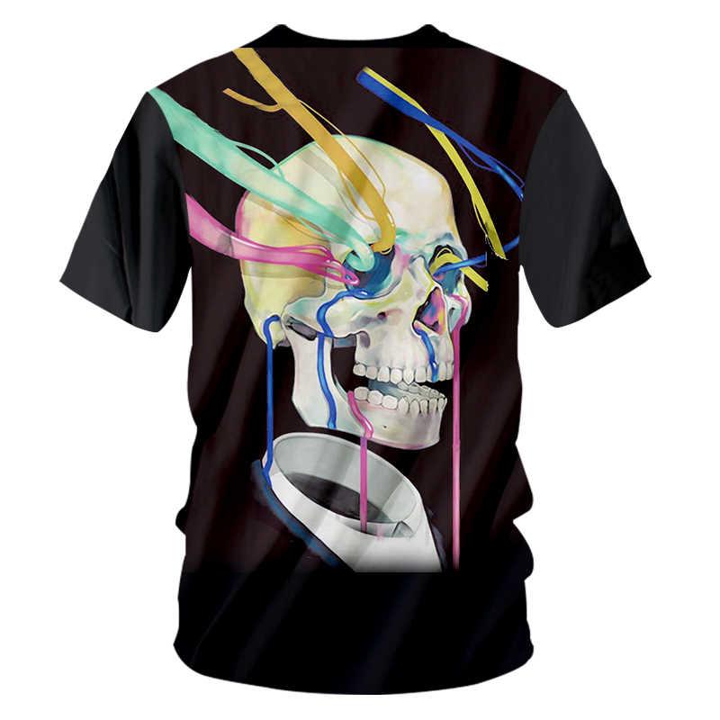 OGKB футболки мужские горячие короткие черепа 3D футболка печать цвет бар черепа Смешные плюс размер 5XL 6XL Топы Футболки унисекс летняя футболка
