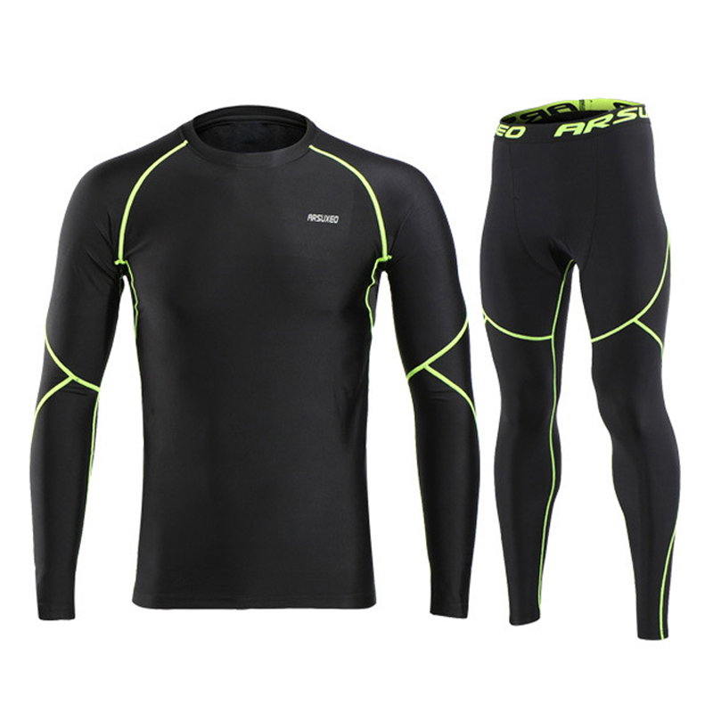 Fleece Warm Up Men's Sports Cycling Base Layers Full Tights Long Sleeve Shirts And Pants Thermal Underwear Set Size S To XXL