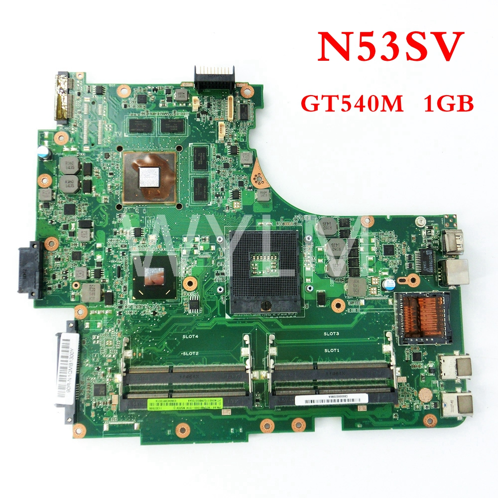 free shipping N53SV GT540M 1GB mainboard For ASUS N53S N53SV N53SN N53SM Laptop motherboard 60-N1OMB1400-B18 100% Tested n53s n53sv n53sn n53sm for asus motherboard n53sv mainboard gt540 n12p gs a1 4 ram solts tested ok