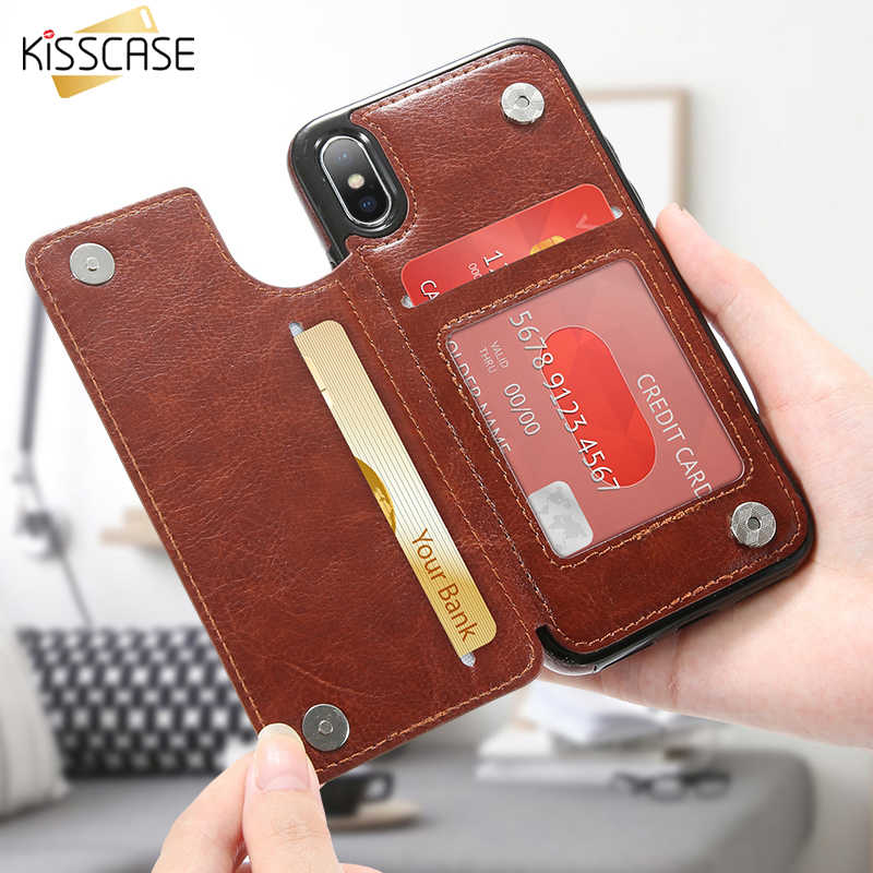 KISSCASE Leather Flip Phone Case For iPhone 6 6S Plus X Case Card