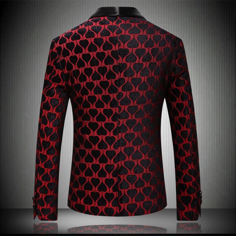 2019 Nova Chegada do Casamento Dos Homens Blazers Slim Fit Top Quality Red Love Imprimir Blazer Men Coreano Casual Partido Casado jaqueta de Verão - 2