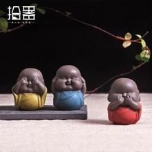 1pc 2018 Chinese Style Purple Clay Yixing Tea Pet Purple Decoration Buddha Little Monk Mini Cute