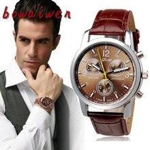 Bowaiwen #1058 человек смотреть Новый Роскошный Мода Искусственной Кожи Мужская Аналоговые Часы Часы