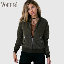 YOFEAI 2016 Bomber Jacket Women Fashion Autumn Cotton Jackets Casual Lattice Outerwear Femme Winter Coats & Jackets