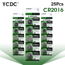 YCDC dl2016 kcr2016 cr2016 lm2016 br2016 3 v lithium coin cell battery bulk 25 pcs for toys, calculators, cameras,clocks,watches