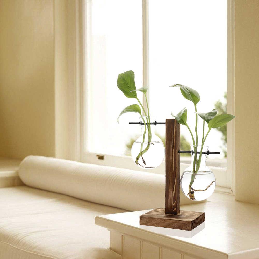 Drop Shipping Hydroponic Plant Vases Vintage Flower Pot Transparent Vase  Wooden Frame Glass Tabletop Plants Home Bonsai Decor| | - AliExpress