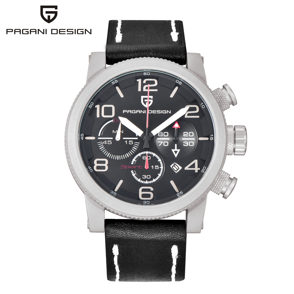 PAGANI DESIGN Men Luxury Brand Minute Second Chronograph Sport Watch Waterproof Stopwatch Date Leather Quart Wristwatch