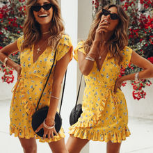 New Fashion Bohemian Style Women Summer Casual Short Sleeve V Neck Bandage Bodycon Yellow Evening Party Print Short Mini Dress wildpinky bohemian style women summer casual short sleeve v neck spaghetti strap evening party print short mini dress vestidos