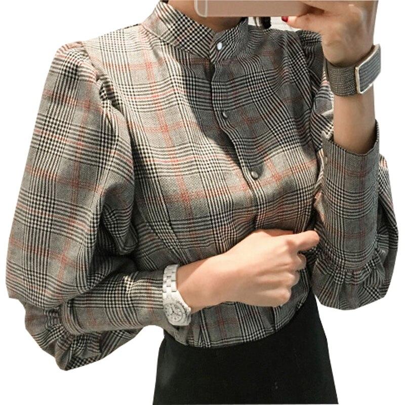 Chemise femme gray plaid shirt women clothes 2017 casual for Grey plaid shirt womens
