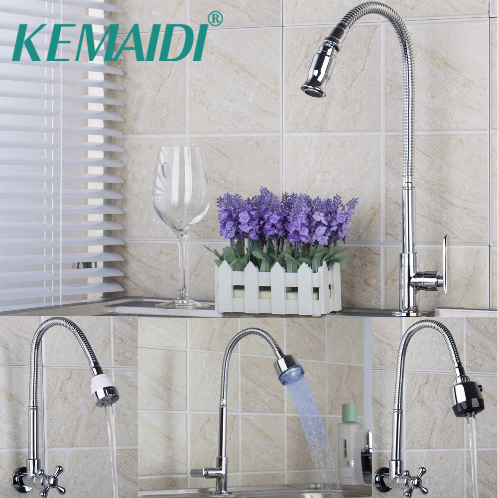 KEMAIDI Solid Brass Kitchen Faucets Kitchen Tap Single Hole Water Tap Kitchen Faucet Torneira Only Cold Faucet Wall Deck Mounted