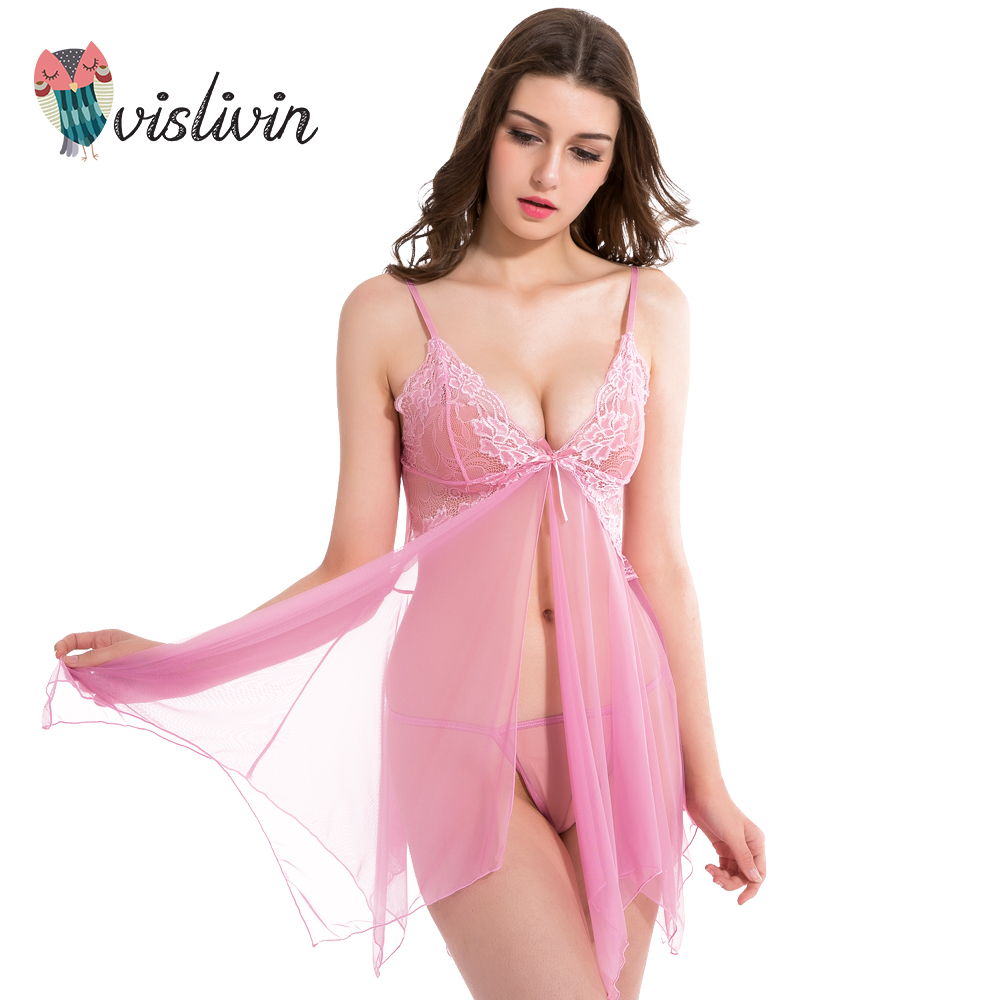 329c2a24a091 Vislivin Hot Sale Homewear Lace Sexy Sleep Women Colorful Spaghetti Strap  Floral Nightdress V-Neck