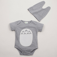 2017 TOTORO Cute Baby Boys Girls Short Sleeve Rompers with Hat Infant Babies Clothing Pink Gray Color 100% Cotton