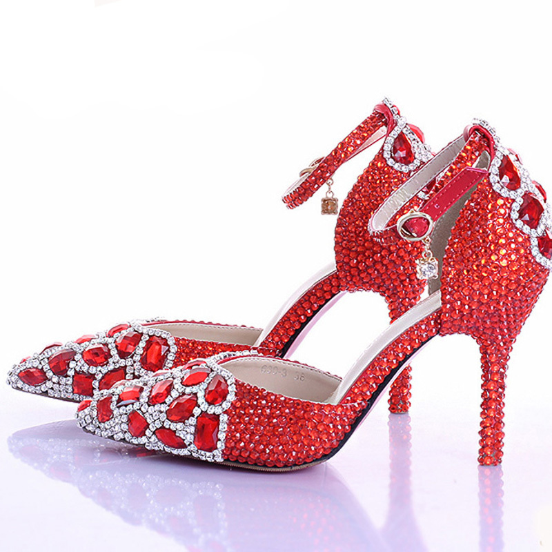 Red Rhinestone Crystal Wedding Shoes Pointed Toe Bridal High Heel Shoes with Ankle Strap Women Pumps Wedding Party Prom Shoes 2015 temperament high heel women pumps rhinestone ankle strap pointed toe ladies wedding shoes