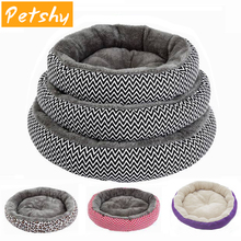 Petshy Round Pet Cat Bed Sofa Padded Dog House Soft Indoor Puppies Kitten Cushion Winter Warm Sleep Rest Small Dogs Nest P