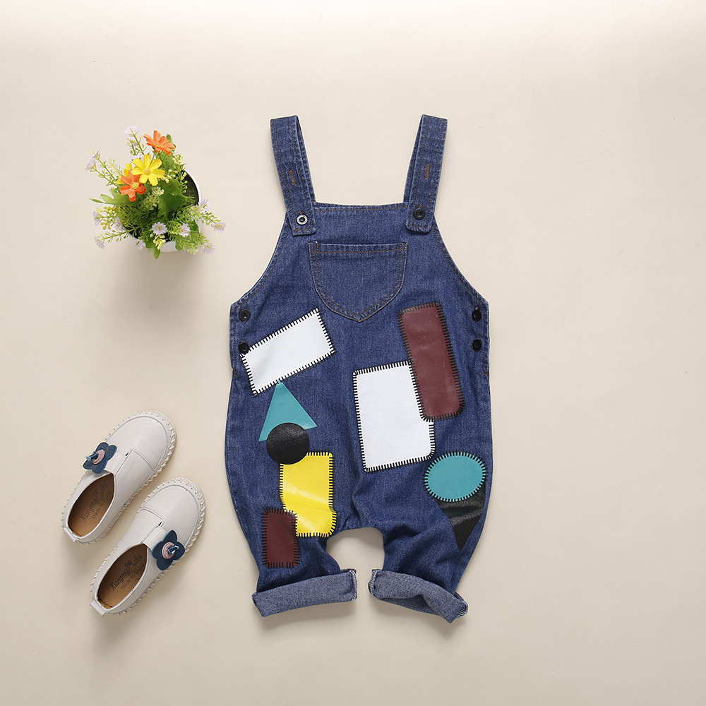 Unisex Overalls Geometric Patch Printed Clothes Jumpsuit Girls Denim Pants Children Fashion Spring Loose Kids