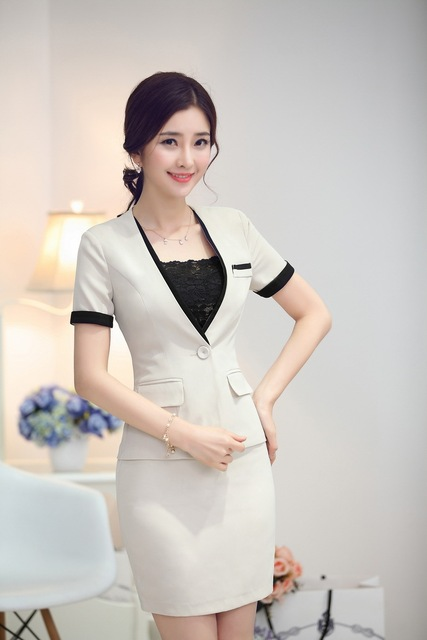 b8b49628c817 Female Work Suits Tops And Skirt Ladies Office Formal Uniforms Design 2015  Summer Short Sleeve Work Wear Blazers Outfits Sets