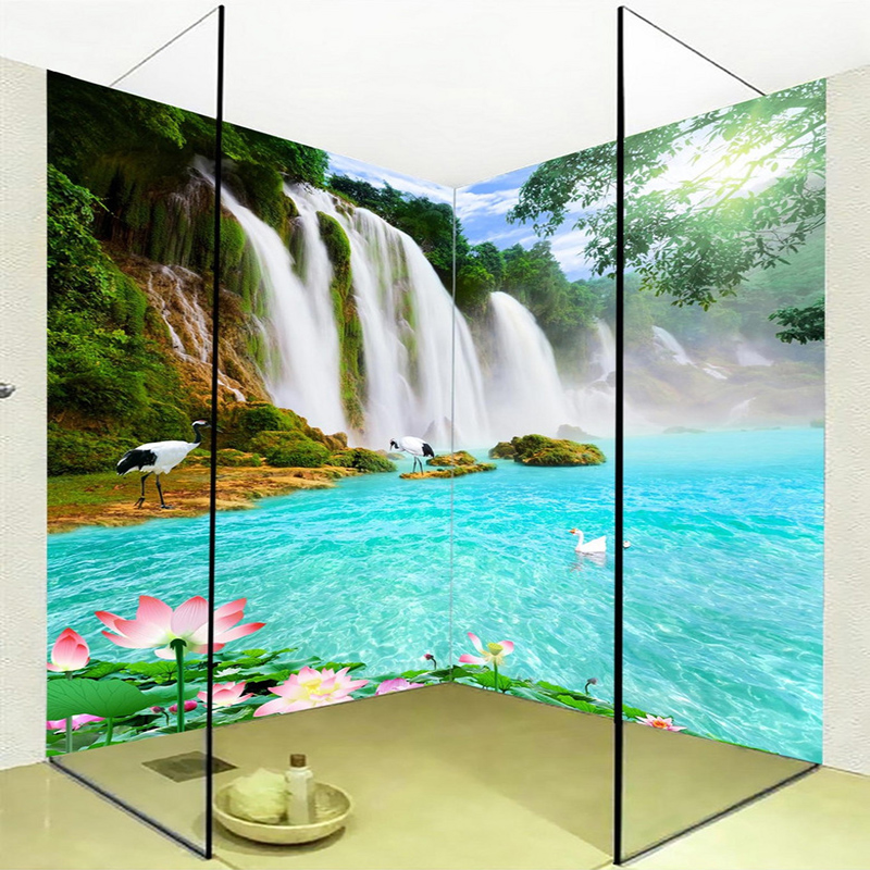 3D Wallpaper Waterfalls Lotus Lake Landscape Photo Mural Wall Sticker Bathroom PVC Waterproof Background Wall Painting Stickers