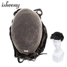 Isheeny Mens Toupee Hair Replacement Systems 100% Natural Indian Remy Hair Free Style Full Bleached Knots For Men