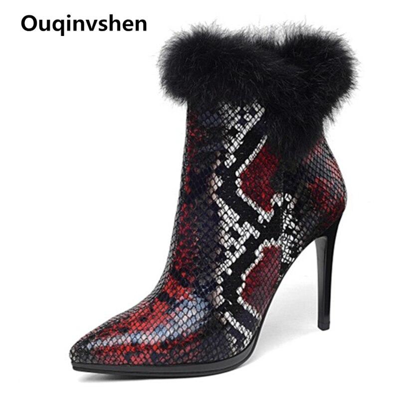 Ouqinvshen Pointed Toe Sexy Snake Print Boots Short Plus Fashion Elegant Warm Furry Boots Thin Heels Winter High Heels Boots цена