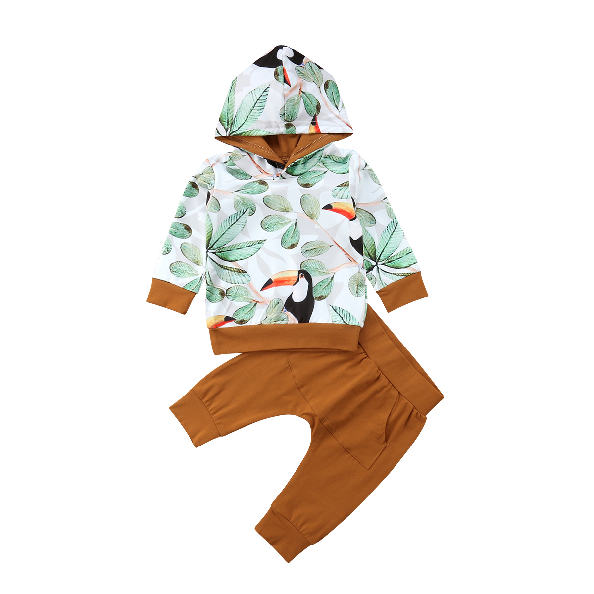 2pcs Baby Clothes Infant Toddler Babies Boys Hooded Tops Harem Pants Outfits Hoodies Clothing Set 0-24M