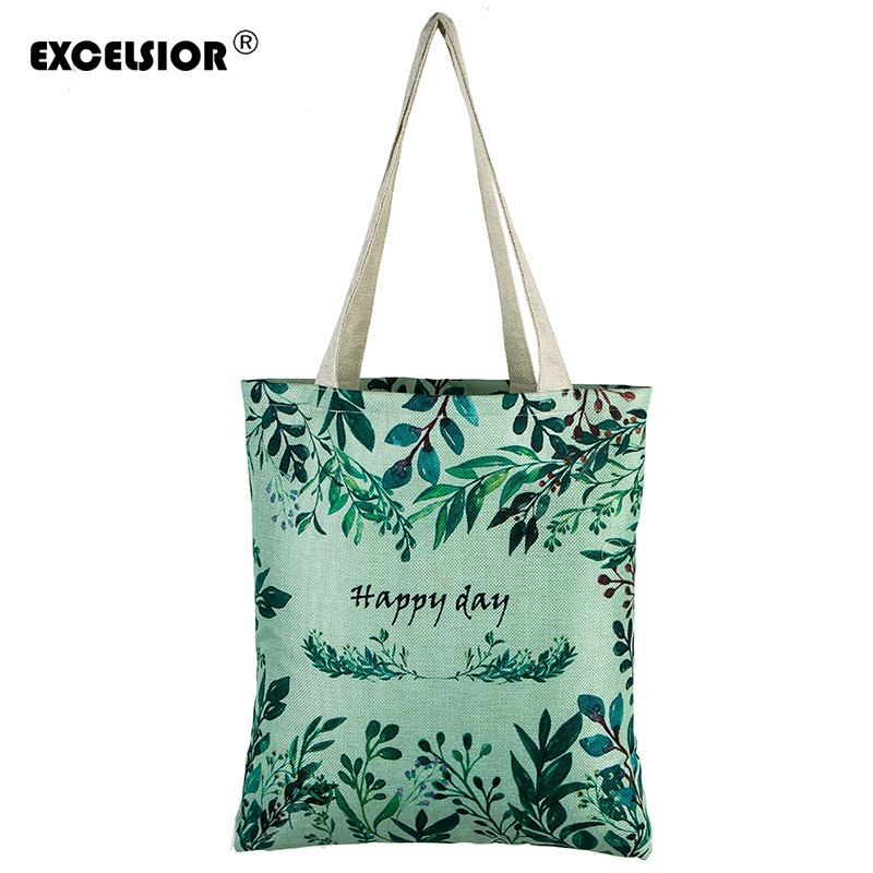 EXCELSIOR Floral Printed Canvas Tote Female Single Shopping Bags Large Capacity Women Canvas Beach Bags Casual Tote Feminina excelsior waterproof canvas casual zipper shopping bag large tote women handbags floral printed ladies single shoulder beach bag