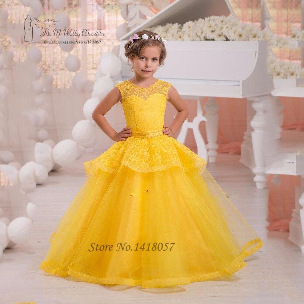 Amarillo Vestidos de Niña para Bodas Vestidos Del Desfile para Niños Vestido de Fiesta Vestidos de