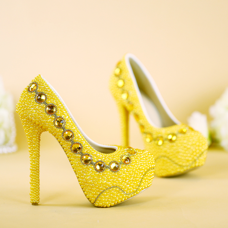 NEW arrival yellow wedding shoes handmade bridal shoes gold pearl party shoes 8cm 11cm 14cm heel