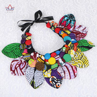 2017 Ankara Button Bib Button Earrings Statement Necklace Tribal Necklace Handmade Flower Shape African Jewelry WYA063
