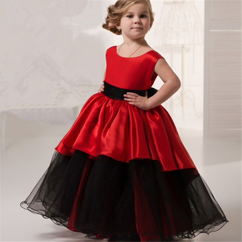 New Puffy Hot   Flower     Girl     Dress   for Weddings Red wine satin Ball Gown   Girl   Party Communion   Dress   Pageant Gown with Cap Sleeves